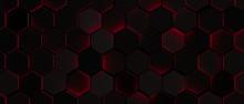 Dark Glowing Red Hexagon Background