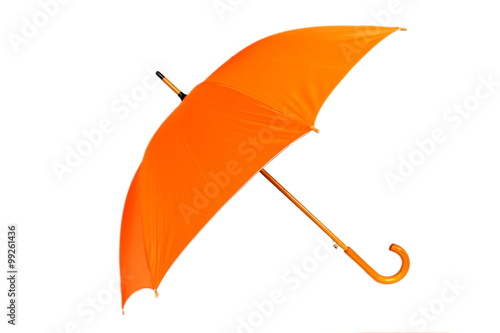 Orange umbrella on white background