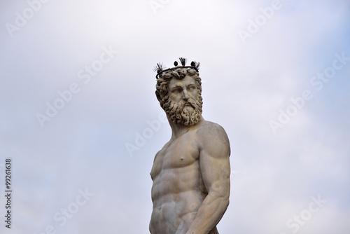 Fotografia  statua di nettuno, piazza della signoria, Firenze, Italia
