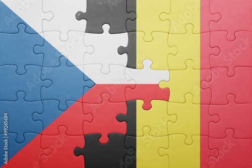 Photo  puzzle with the national flag of czech republic and belgium
