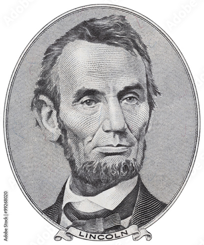 Photo President Abraham Lincoln on us five dollar bill macro isolated, united states m