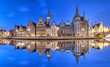 canvas print picture - Ghent skyline reflecting in water, Belgium