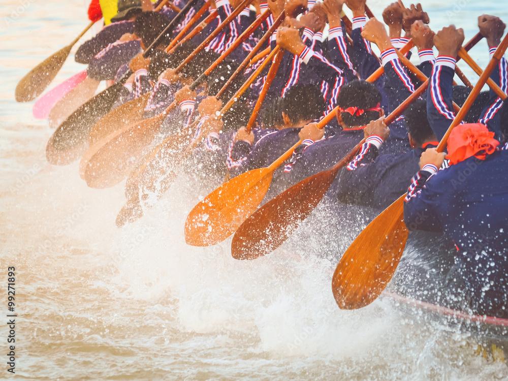 Fototapeta Close up of rowing team race