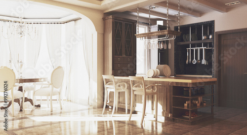 Cucina sala pranzo legno - Buy this stock illustration and ...