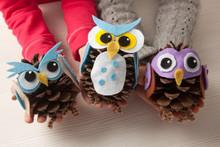 Children Holding Felt An Pine Cone Owl Craft