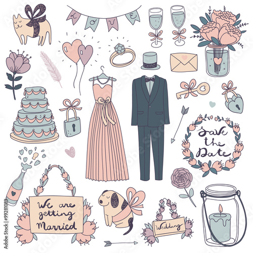 hand drawn vector wedding set.. Poster