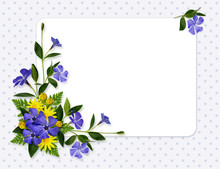 Periwinkle And Daisy Flowers Decoration And A Card