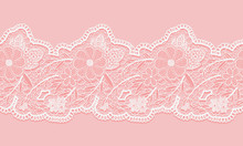White And Pink Seamless Lacy R...