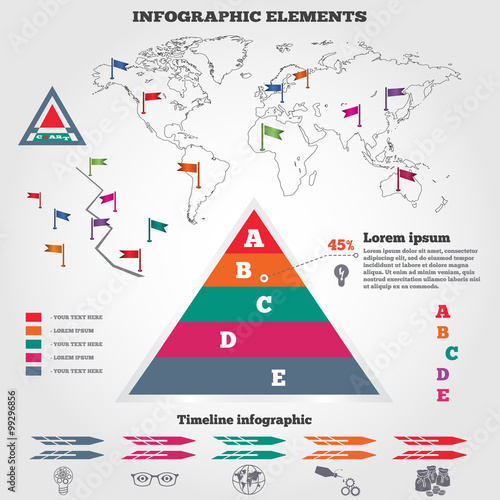 Infographics elements pyramid chart map and timeline diagram with pyramid chart map and timeline diagram with icons modern colored flat gumiabroncs Image collections