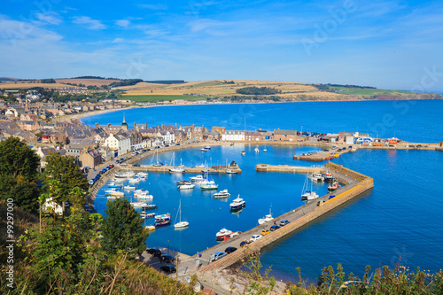Aerial view of harbour at Stonehaven bay, Aberdeenshire, Scotland Wallpaper Mural