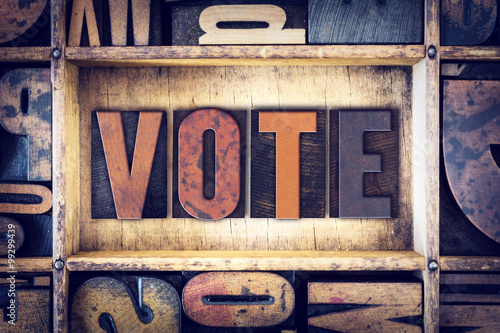 Valokuva  Vote Wooden Letterpress Type
