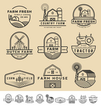 Set Of Vintage And Modern Farm...