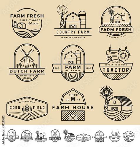 Foto  Set of vintage and modern farm badge logo and labels design