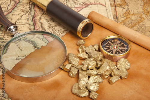 Photo  Gold nuggets concept
