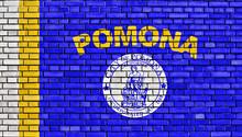 Flag Of Pomona Painted On Brick Wall