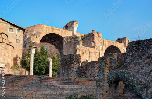 Photo  Ruins on the Palatine hill, historical part in Rome, Italy