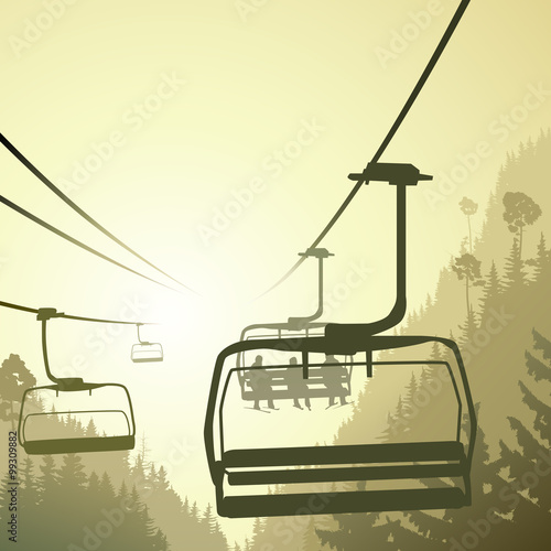 illustration-of-mountain-forest-with-ski-lift