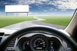 Car dashboard speeds while on the road. car driving fast