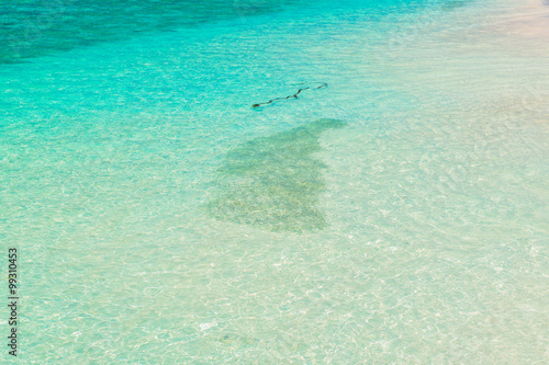 Photo  Sand beach and ocean wave, South Male Atoll. Maldives