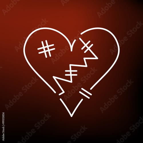 Broken Heart Icon Heartbroken Sign Heart Break Symbol Thin Line