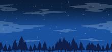 Seamless Pine Trees At Night