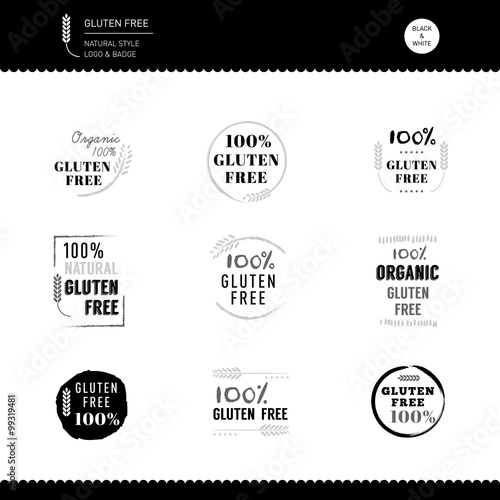 Collection of Gluten Free Icon vector design Black and white