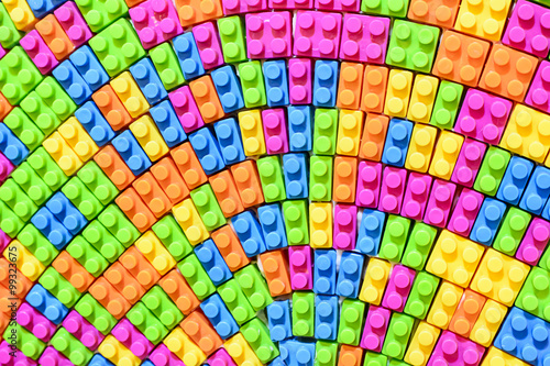 Spoed Fotobehang Psychedelic Lego Blocks Toy