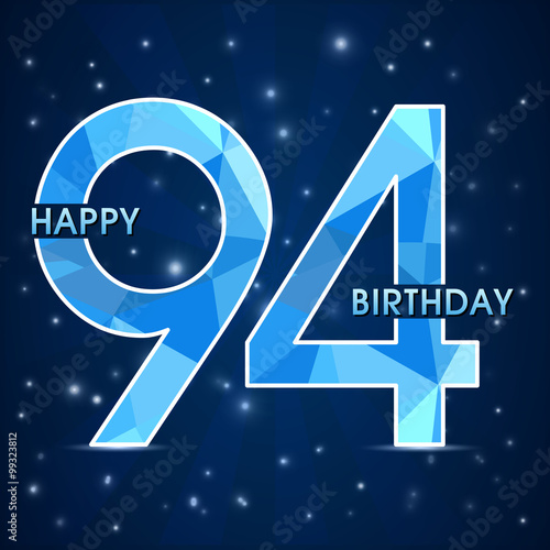94 Year Birthday Celebration Label 94th Anniversary Decorative Polygon Emblem
