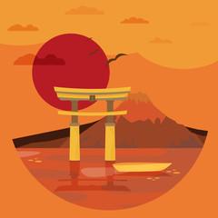 NaklejkaFlat design landscape of Japan illustration vector