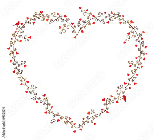 Valentine\'s day vector frame for text, composition of curly tree ...