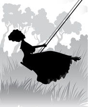 Silhouette Of Romantic Girl On Swing