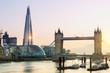 London, the Shard and Tower bridge at sunset