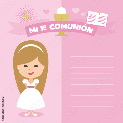 First communion invitation, template. Blonde girl on a pink background. Vector Element Set. Written in Spanish