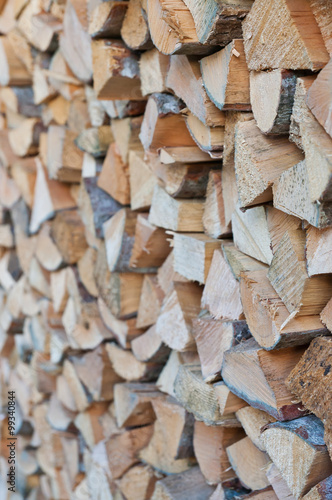 Poster Brandhout textuur Firewood woodpile