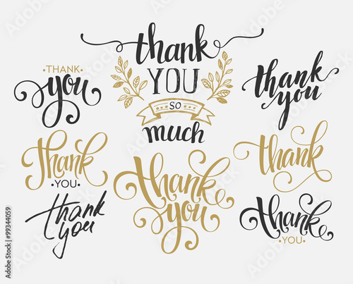 Fotografie, Obraz  Set of custom THANK YOU hand lettering. Vector illustration