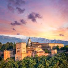 Fantastic Ancient Alhambra At Thel Evening Time, Granada,