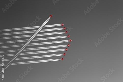 Fotografie, Obraz  Formationsflug mit Querflieger