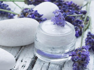 Fototapeta facial cream with fresh lavender