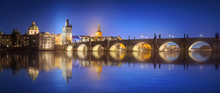 View On Charles Bridge In Prague At Night