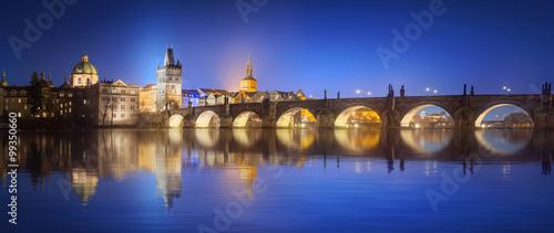 Staande foto Praag View on Charles Bridge in Prague at night