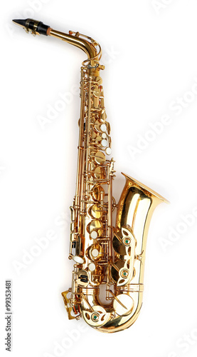 Golden saxophone isolated on white background Wallpaper Mural