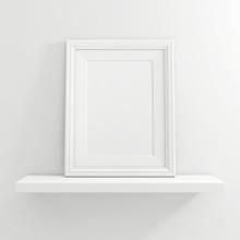 White Blank Photo Frame On Whi...