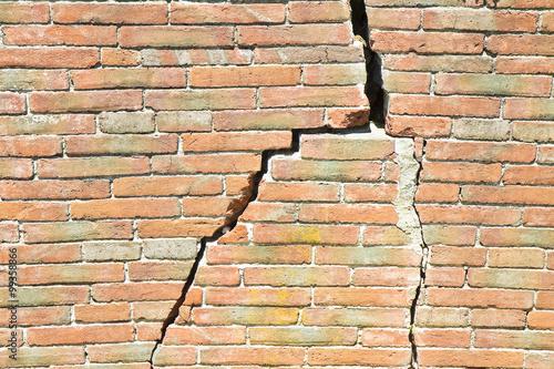 Fotografie, Obraz  Deep crack in old brick wall - concept image
