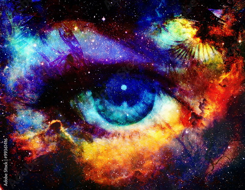 Photo Goddess eye and Color space background with stars.