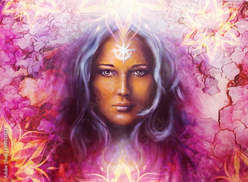 Fototapety, obrazy: Beautiful Painting Goddess Woman with ornamental mandala and color abstract background  and desert crackle..