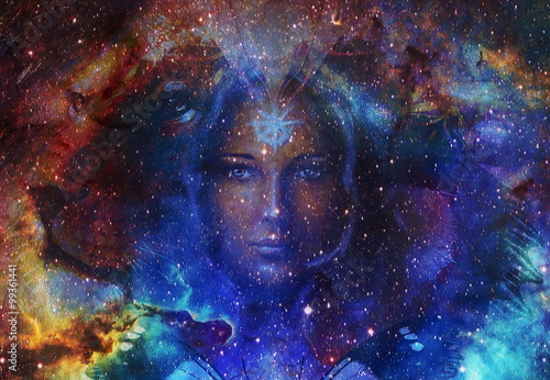 Fototapeta Beautiful Painting Goddess Woman and  Color space background with stars