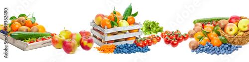 Spoed Foto op Canvas Verse groenten Obst und Gemüse, isoliert als Banner