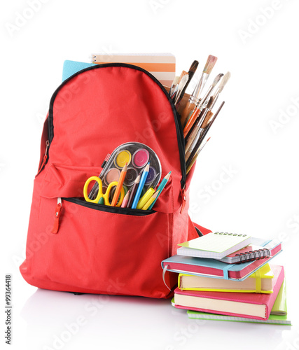 Poster Fleur Red backpack with colourful stationary and books isolated on white background