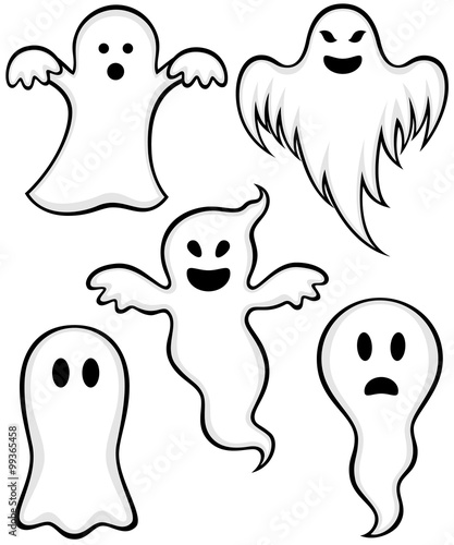 Photo  Vector illustration of a variety of cartoon ghosts.