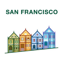 Colorful San Francisco Street Illustration With Victorian Houses Made In Line Art Style